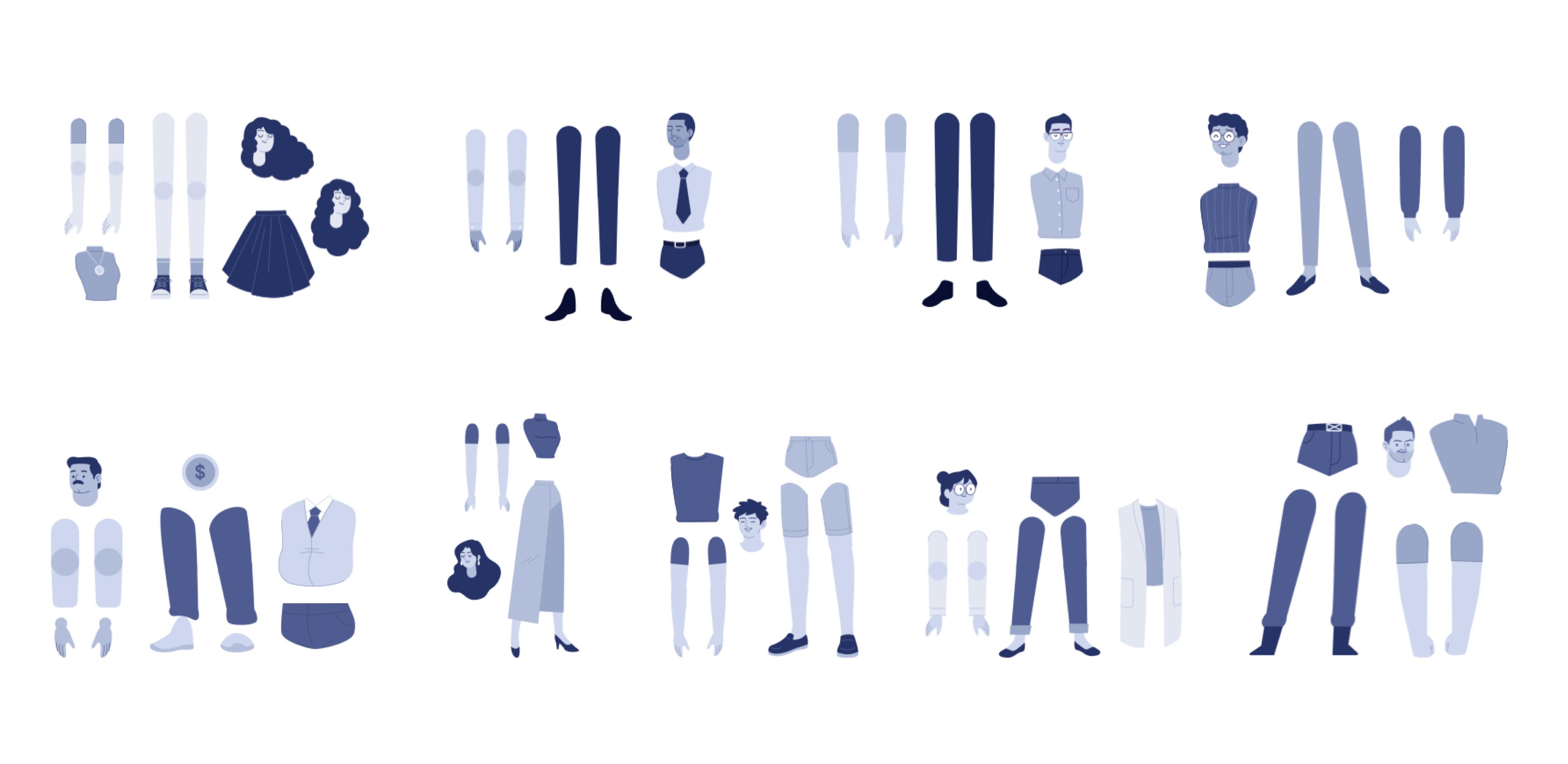 Breakdown of each character